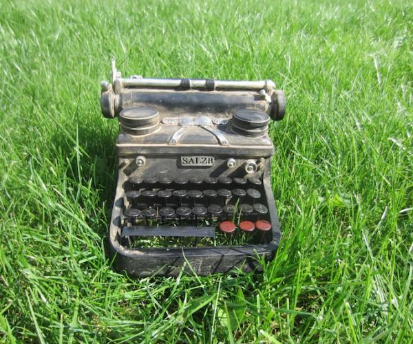 Schreibmaschine im Gras